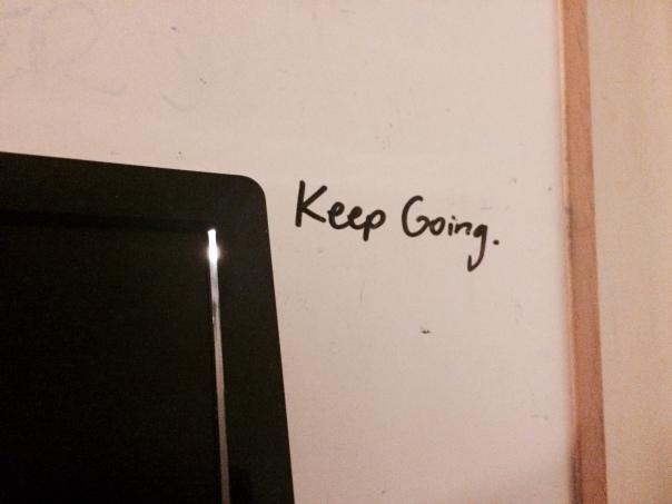 Advice from Elizabeth Hand, always within eyesight.