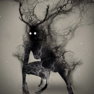 One interpretation of wendigo. Art by Onki Dayan. Found here: https://www.pinterest.com/pin/401172279286144735/