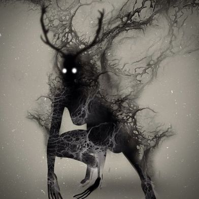 One interpretation of wendigo. Art by Onki Dayan. Found here: https://www.pinterest.com/pin/401172279286144735/