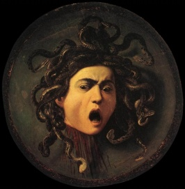 "Caravaggio's ""Medusa"" (1597). Lots of rage. Still makes me feel ill."