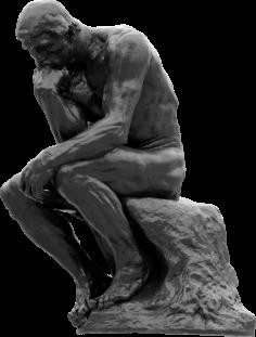 "THINKING. (""The Thinker,"" Rodin, 1880/1904)"